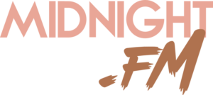 MidnightFM Logo in Flamingo Pink and Burnt Umber